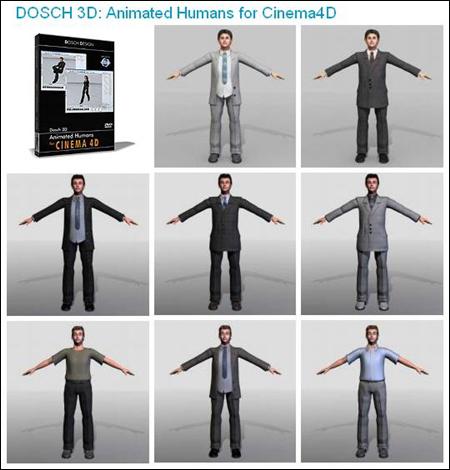 C4D人物模型合集,全套Cinema4D人物3D模型,带动画绑定共23.3 GB